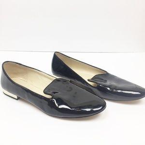 Zara   Black Patent Gold Heel Loafers